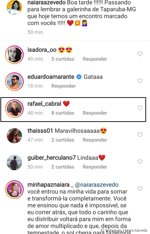 Marido de Naiara Azevedo, Rafael Cabral comentou foto de sertaneja no Instagram