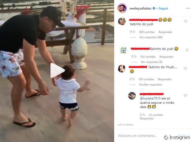 Filho mais velho de Wesley Safadão, Yudhy chama atenção dos internautas em vídeo