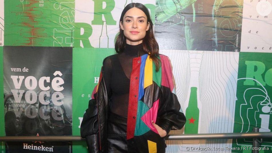 Look de Thaila Ayala: atriz apostou em top com blusa transparente para curtir o Rock in Rio