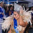 Carnaval 2020: Ana Paula Minerato mostrou muito samba no pé na quadra da Acadêmicos do Tatuapé, quinta escola a desfilar na sexta-feira de Momo