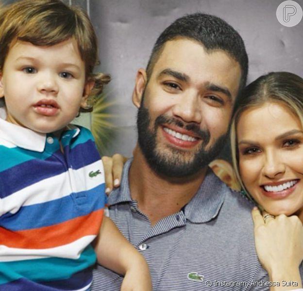 Andressa Suita encantou internautas ao mostrar momento íntimo entre Gusttavo Lima e filho mais velho nesta quinta-feira, 28 de novembro de 2019