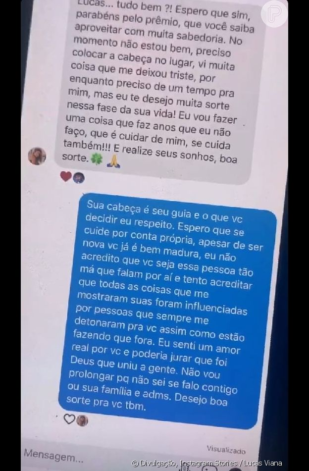 Lucas Viana expõe mensagem trocada com Hariany após 'A Fazenda'