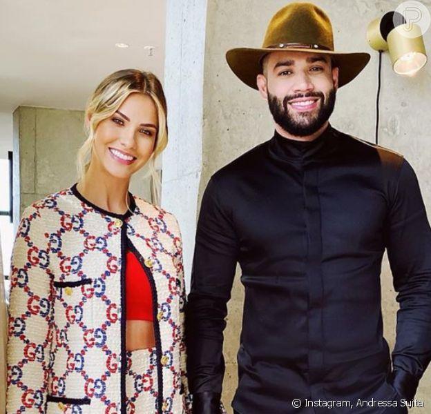 Andressa Suita sugere look de show para Gusttavo Lima ao vê-lo malhar em vídeo compartilhado nesta quinta-feira, dia 16 de janeiro de 2020