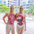Bia e Branca Feres apostam em looks repletos de franja e outras trendys inspiração no Bloco da Favorita, no Rio de Janeiro