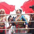 Preta Gil aposta em look multicolorido para seu bloco, no Rio de Janeiro, neste domingo, 16 de fevereiro de 2020