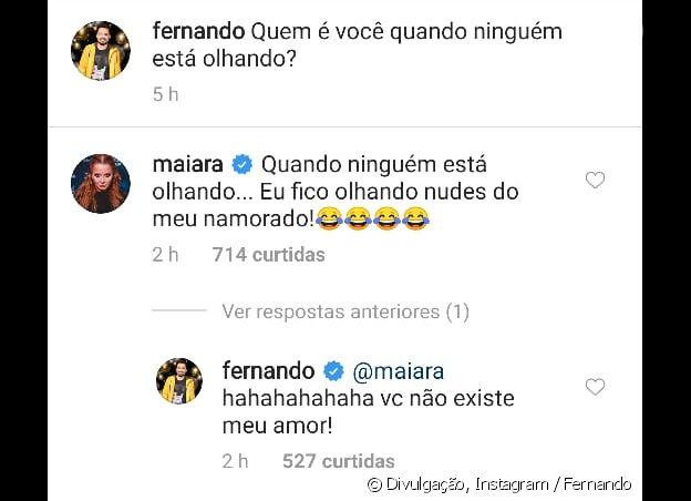 Maiara diverte Fernando com resposta picante