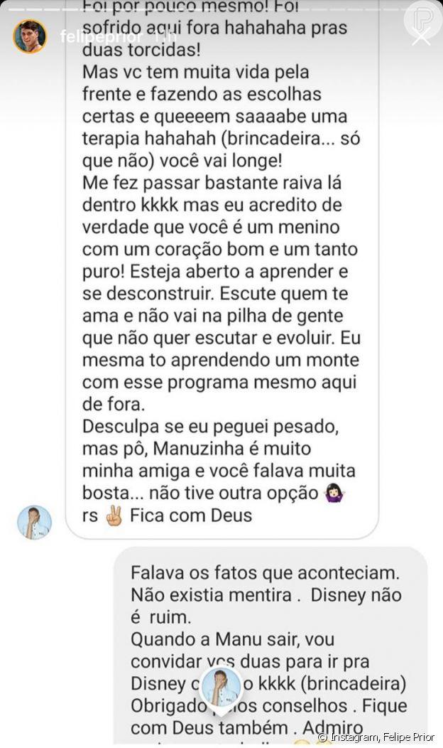 Bruna Marquezine conversa com Felipe Prior por direct no Instagram