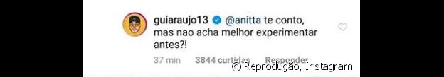 Gui Araújo responde pergunta de Anitta com convite