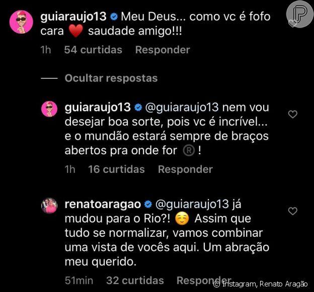 Renato Aragão ganha mensagem carinhosa de Gui Araújo, seu amigo e namorado de Anitta