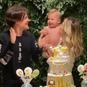 Gabi Brandt e Saulo Poncio organizam festa temática no 1º ano do filho, Davi