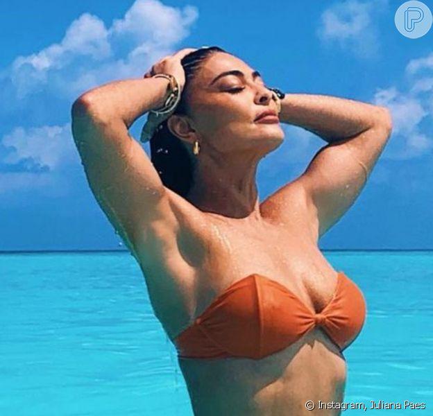 Juliana Paes admite ter editado foto de biquíni e explica: 'Cor do mar'