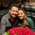 Fernando Zor e Maiara comemoraram um ano de namoro com jantar