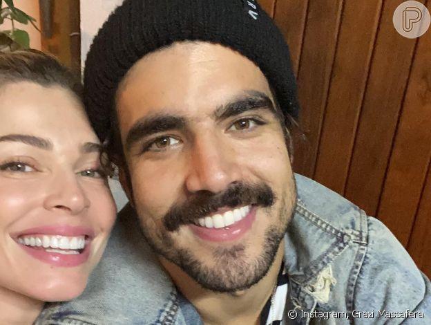 Caio Castro ganha declaração da namorada, Grazi Massafera, em aniversário