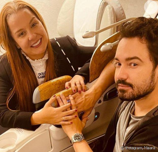 Maiara faz foto com Fernando Zor em avião e detalhe nas mãos chama atenção