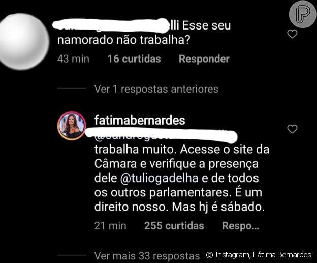 Fátima Bernardes respondeu internauta sobre Túlio Gadêlha