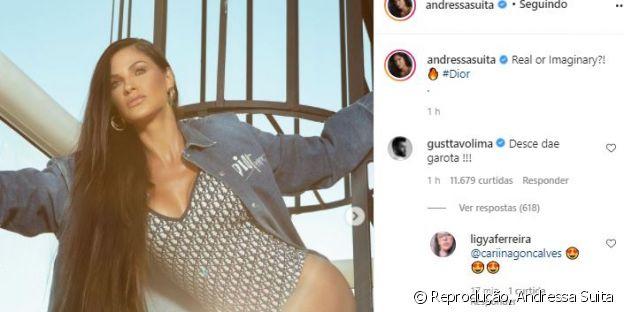 Andressa Suita faz foto em escada e ganha 'pedido' de Gusttavo Lima. Confira!