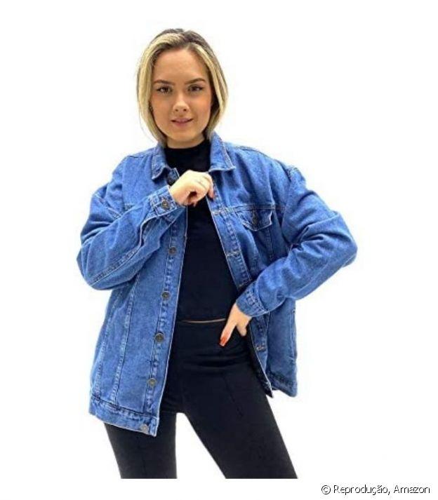 Jaqueta oversized jeans feminina, Hering
