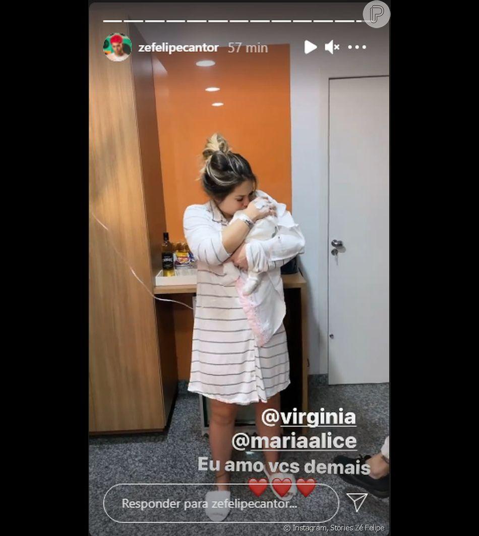 Virgínia Fonseca encantou Zé Felipe ao segurar a filha no colo - Purepeople