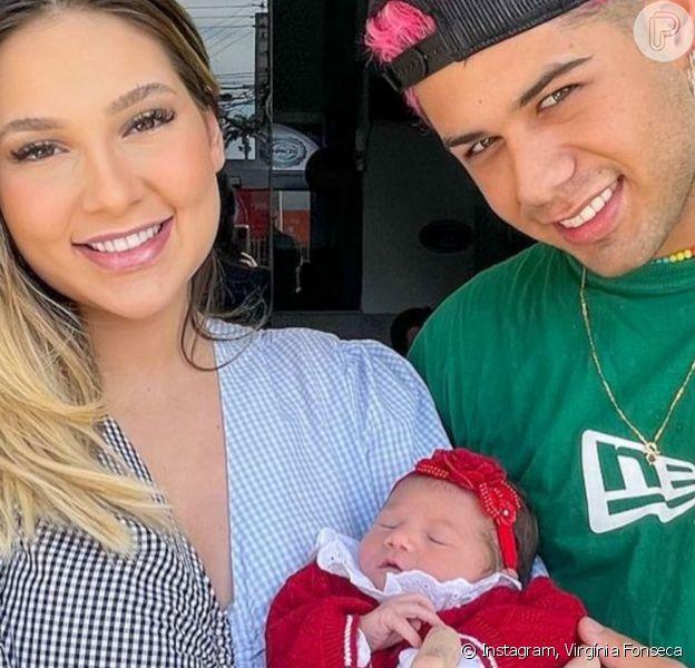 Zé Felipe reuniu a mulher, Virgínia Fonseca, e a filha, Maria Alice, em foto: 'Amor'