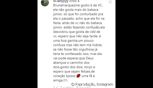 Enzo Celulari curte comentário de fã sobre situação de Bruna Marquezine e Neymar