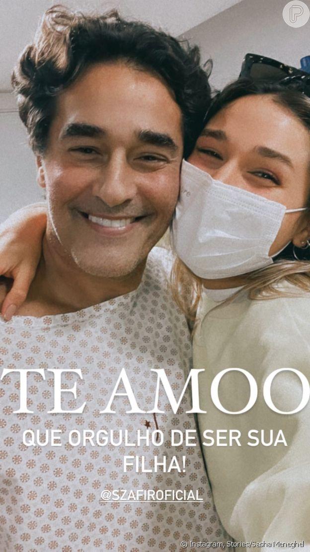 Luciano Szafir e Sasha se abraçam em 1ª foto após ator deixar UTI