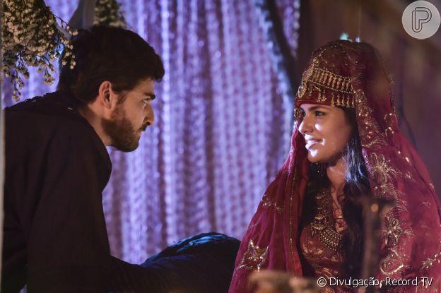 Na novela 'Gênesis', Raquel (Thais Melchior) se torna a segunda mulher de Jacó (Miguel Coelho)