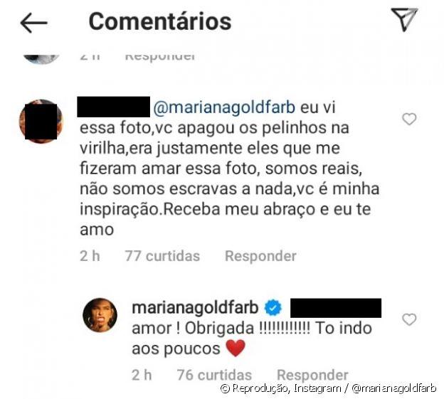 Seguidora questiona Mariana Goldfarb a respeito de pelos na virilha e apresentadora responde