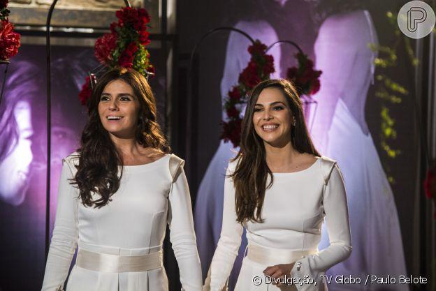 Clara e Marina se casam com o mesmo vestido no fim da novela 'Em Família'