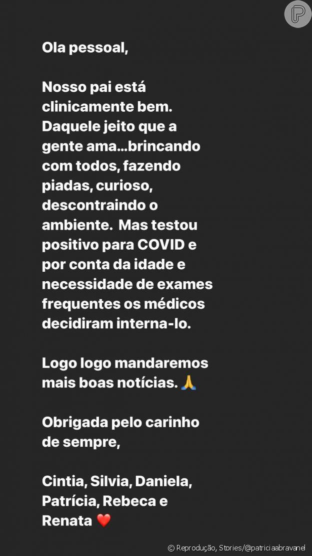 Patricia Abravanel confirma internação de Silvio Santos por Covid-19