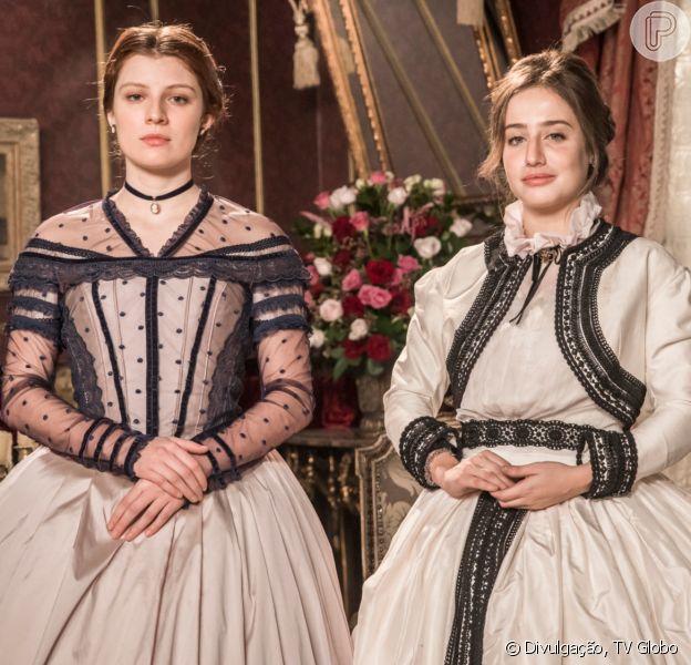 Novela 'Nos Tempos do Imperador': Leopoldina (Bruna Griphao) se encanta por pretendente da própria irmã, Isabel (Giulia Gayoso), Pierre (Gabriel Falcão)
