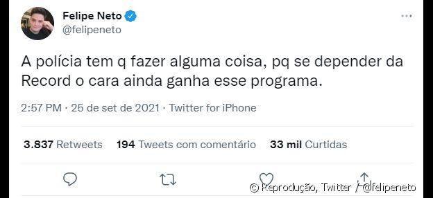 Felipe Neto mostrou temer que caso se alongue e Nego do Borel acabe na final do programa