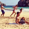 Bruno Gagliasso e Giovanna Ewbank fazem exercícios físicos em Fernando de Noronha, em 30 de dezembro de 2014