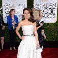 Salma Hayek usou um vestido tomara que caia da grife Alexander McQueen