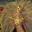 Sabrina Sato é a madrinha de bateria da Gaviões da Fiel, segunda escola a desfilar em São Paulo no sábado de Carnaval (14)
