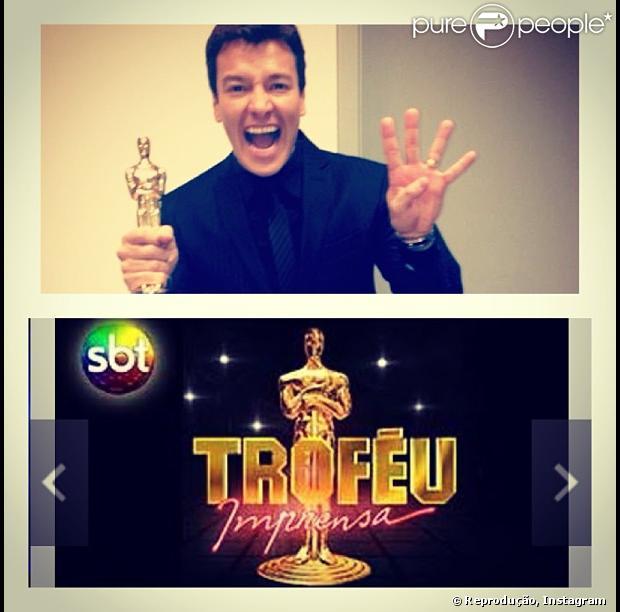 Rodrigo Faro ganha título de melhor apresentador no Troféu Imprensa, em 28 de abril de 2013