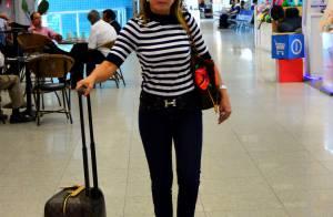 Zilu embarca com mala e bolsa da grife Louis Vuiton que somam mais de R$ 15 mil
