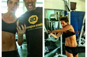 Giovanna Ewbank mostra barriga em treino e personal diz: 'Gorduras imaginárias'