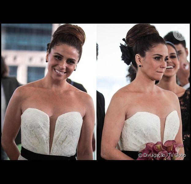 Giovanna Antonelli posa de noiva durante gravação de casamento de Helô com Stenio (Alexandre Nero), em 13 de maio de 2013