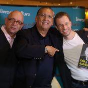Galvão Bueno recebe Tiago Leifert e mais famosos em lançamento de sua biografia