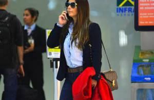Com look comportado, Viviane Araújo usa bolsa de R$ 5.500 para viajar