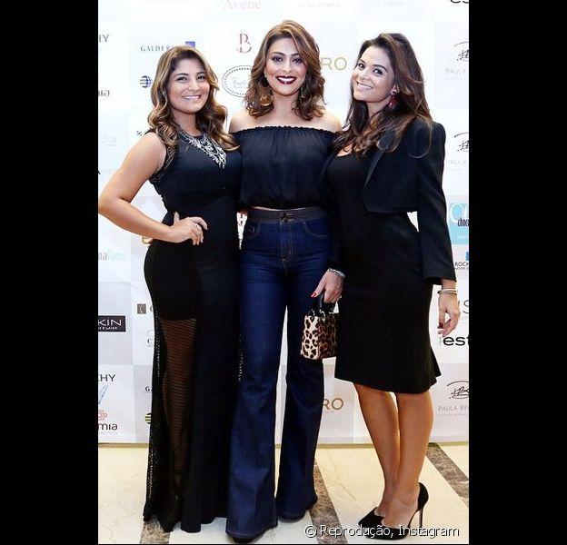Juliana Paes vai a evento de beleza ao lado das irmãs Rosana Paes e Mariana Paes
