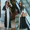 Durante um passeio no shopping, Marina mostrou elegância usando um vestido longo de seda da Animale, outra marca que costuma usar com frequência, combinado com bolsa Gucci de R$ 6.000