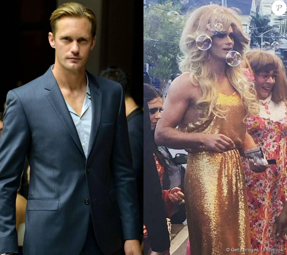 Alexander Skarsgard comapreceu a pré-estreia do filme 'Diary of a Teenage Girl', vestido de drag queen, na noite desta segunda-feira, dia 04 de agosto, de 2015, em São Francisco