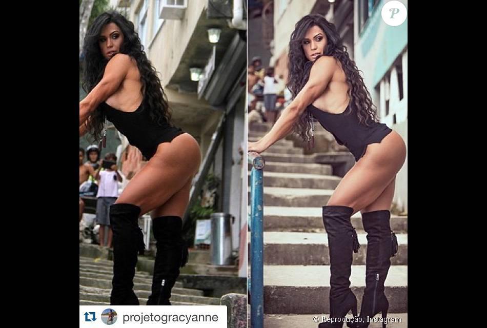 Gracyanne Barbosa aparece em foto tratada no Photoshop em imagem da direita