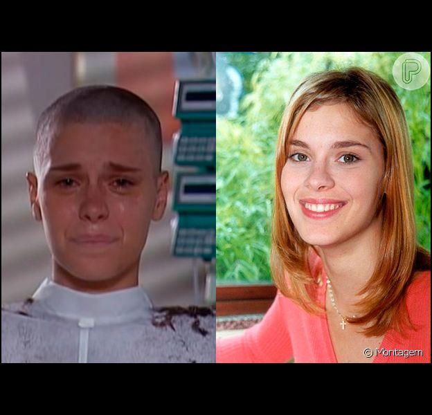 A imagem de Carolina Dieckmann raspando o cabelo em 'Laços de Família' (2000) marcou a teledramaturgia brasileira. À direita, a atriz aparece com os fios longos, corte usado no início da novela