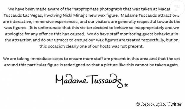 Comunicado Madame Tussauds