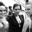 Mariana Rios, Nathalia Rodrigues e Fernanda Pontes posam juntas durante a festa de inauguração dagrife Carmens Steffens, em Orlando, nos Estados Unidos