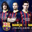 No cartaz de divulgação do amistoso contra o Santos, Neymar aparece ao lado de Lionel Messi
