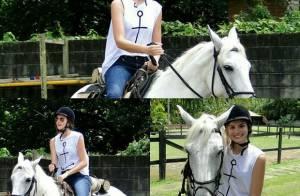 Camila Queiroz anda a cavalo como preparação para 'Êta Mundo Bom': '1ª aula'