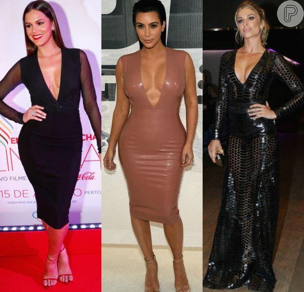 Bruna Marquezine, Kim Kardashian e Grazi Massafera são algumas das famosas que desfilaram com muita beleza, sensualidade e decotes ousados em 2015